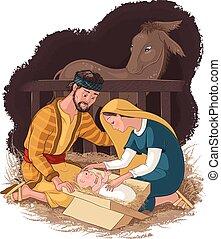 Die Geburtsszene mit der heiligen Familie. Jesus, Mary und Joseph