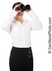 Die Geschäftsfrau sieht aus wie ein gedämpftes Fernglas