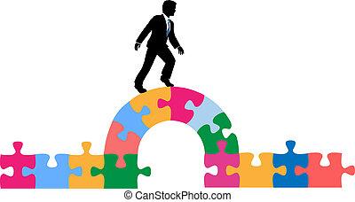 Die Geschäftsleute wälzen Brücke zur Lösung