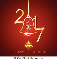 Die goldene Weihnachtsglocke im roten Hintergrund.