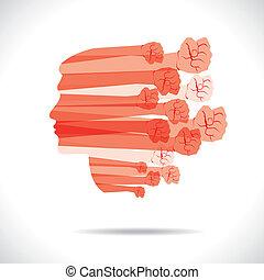 Die Gruppe der Hand zeigt, dass die Einheit das deckt