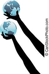 Die Hände der Erdlinge halten die Welt hoch