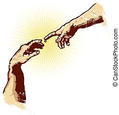 Die Hände des Schöpfers des Religionsvektors illustrieren