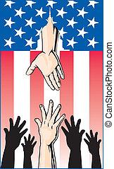 Die Hände greifen nach Regierungshilfe.