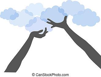 Die Hände halten die Wolken hoch