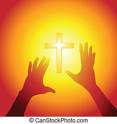 Die Hände reichen aus, um in hellem Licht zu kreuzen