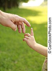 Die Hand der Eltern und des Kindes in der Natur