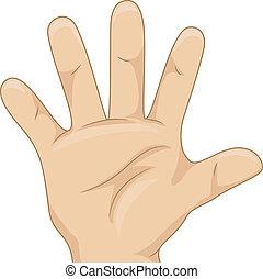 Die Hand des Jungen zeigt fünf Hände