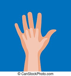 Die Hand des Kindes in der Hand von Erwachsenen auf einem blauen Hintergrund