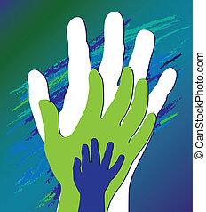 Die Hand des Kindes in Vaters Ermutigung. Unterstützt die Moral.