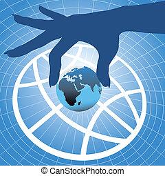 Die Hand, die die Erde über den Globus hält, symbolisiert den Hintergrund