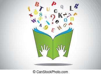 Die Hand hält offenes Buch