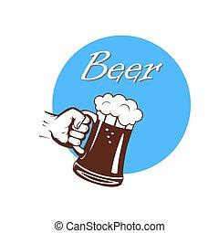 Die Hand mit einer Tasse Bier kennzeichnen.