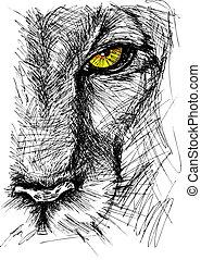 Die Hand zog Sketch eines Löwen