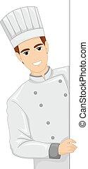 Die Illustration des Chefkochs.