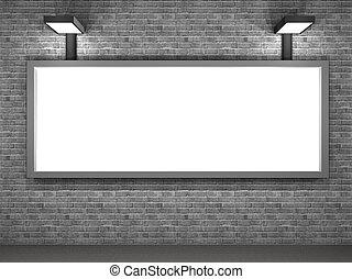 Die Illustration einer Straßenwerbungstafel am Abend