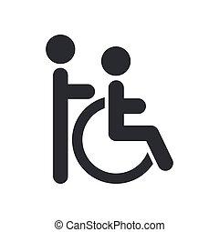 Die Illustration eines einzelnen Behindertenassistenten