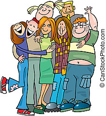 Die Jugendgruppe umarmt mich