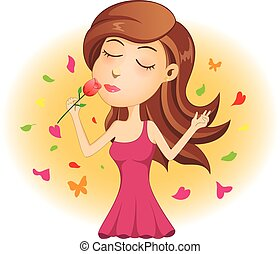 Die junge Dame riecht rote Rose.