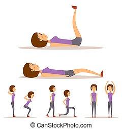 Die junge Frau übt im Fitness-Charakter-Workout gesundes Wohnen und Ernährungskonzept Vektorgrafik.