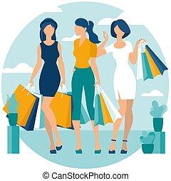 Die jungen Frauen gehen gerne einkaufen