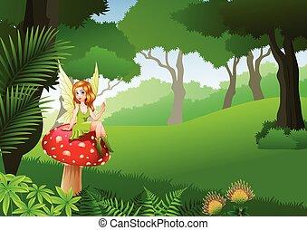 Die kleine Fee sitzt auf Pilzen mit Tropischem Waldhintergrund.
