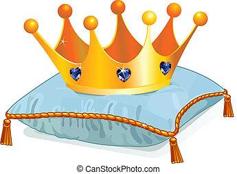 Die Krone der Königin auf dem Kissen
