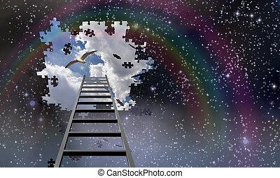 Die Leiter zum Himmel führt in den Tag