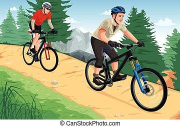 Die Leute fahren Mountainbikes.