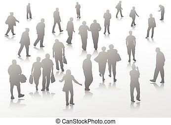 Die Leute gehen Silhouetten.
