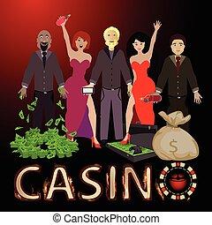Die Leute gewinnen ein Casino und einen Haufen Geldbeutel