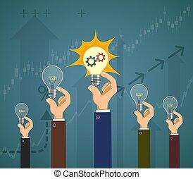 Die Leute halten Glühbirnen in ihren Händen. Erfolg im Geschäft.