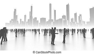 Die Leute in der Stadt in Weiß.