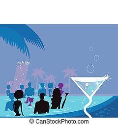 Die Leute in Pool & Fresh Martini trinken