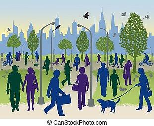 Die Leute laufen in einem Stadtpark.