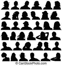Die Leute leiten den schwarzen Silhouette Vektor