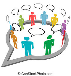 Die Leute reden über ein Treffen in den sozialen Medien