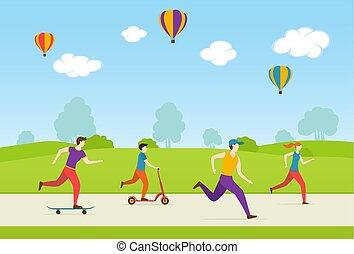 Die Leute spielen Sport im Park