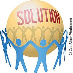 Die Leute suchen Teamwork Solution