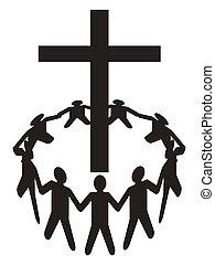 Die Leute versammeln sich um ein Kreuz