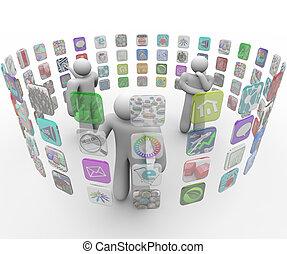 Die Leute wählen Apps über projizierte Touchscreen-Wände