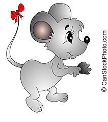 Die Maus mit dem kleinen Bogen am Schwanz