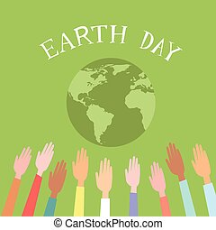 Die Menschen erhoben Hände Welt Erde Tag grüne Welt.