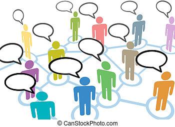 Die Menschen sprechen von Verbindungen zum sozialen Sprachgebrauch
