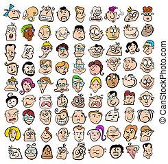 Die Menschen stehen vor Gesichtsausdruck-Doodle-Cartoon-Ikonen, glücklichen Figuren-Kunst