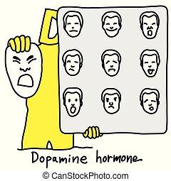 Die Metaphorfunktion des Dopaminhormons ist die Kontrolle des Verhaltens des menschlichen Wesens Vektor-Zeichnung gezeichnet mit schwarzen Linien, isoliert auf weißem Hintergrund. Medizinisches Bildungskonzept.