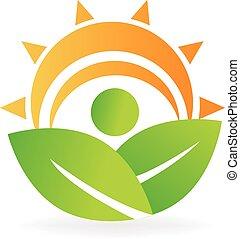 Die Natur blättert Energielogo.