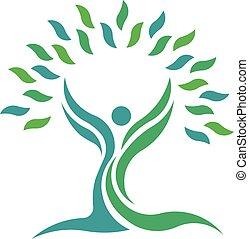 Die Natur des Baumes blättert Gesundheitsleute. Vector Logosymbol