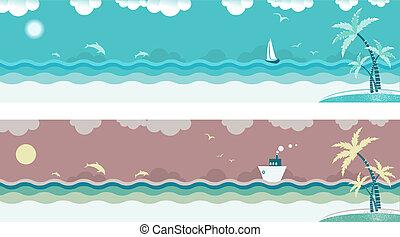 Die Natur mit Meereswellen und Palmen auf der Insel. Vector-Banner