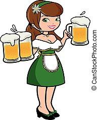 Die Oktoberfest-Kellnerin serviert Bier. Vector Illustration